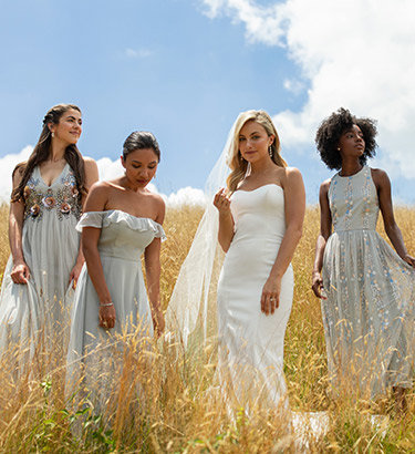 Bridesmaids dressed in blue and a bride stand in a golden field.