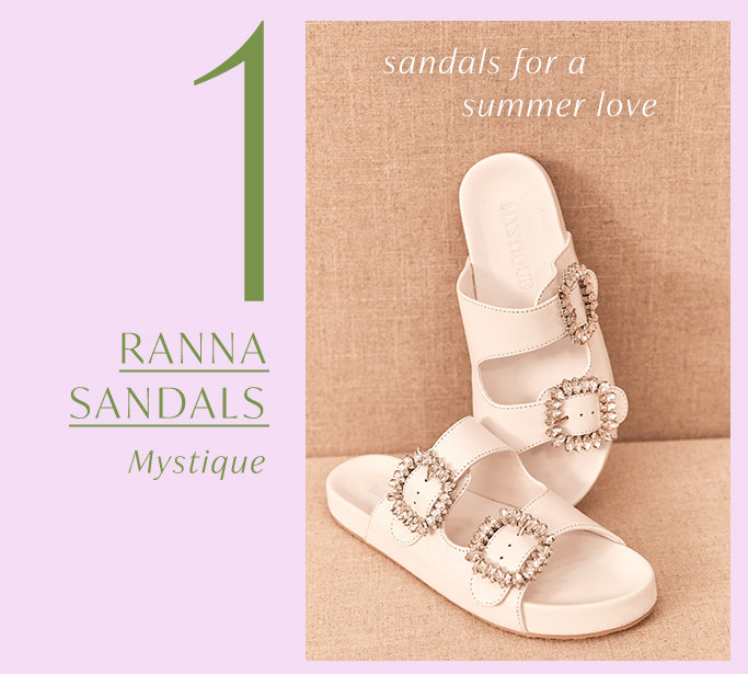 Product 1 of the drop: Ranna Sandals by Mystique.