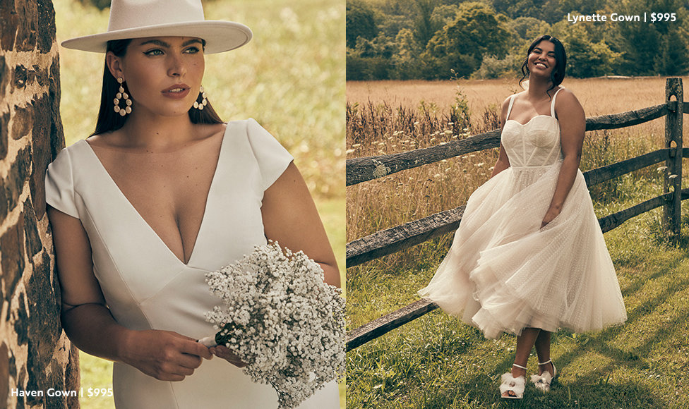 Left Image: Bride holding a bouquet of posies in a sun hat and the Haven Gown from BHLDN in plus sizes at $995. Right Image: Bride in layered tulle Lynette Gown with a corset style top in plus size next to fence, $995.