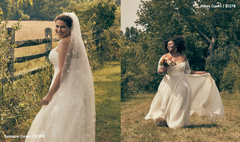 Left Image: Bride standing in field next to fence in lace embrodiered Samaire Gown in plus size and lace embroidered waterfall veil, $1395. Right Image: Bride in off-the-shoulder with sheer sleeves Miles Gown in plus size going through field with a bouquet of white and pink roses, $1278.